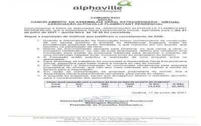 Cancelamento da Assembleia Geral Extraordinária - Virtual 01/07/2021